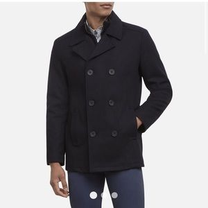 Kenneth Cole DOUBLE-BREASTED WOOL BLEND PEACOAT